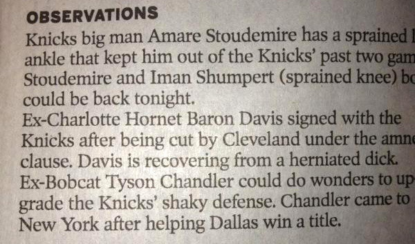 michaelhayes:  That time the Charlotte Observer wrote herniated dick. (Via Poynter's The best (and worst) media errors and corrections of 2012)