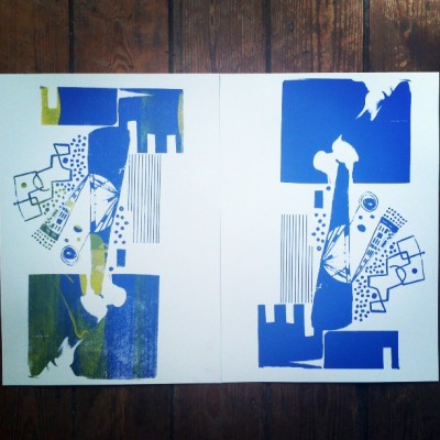 Untitled #2. 4/5/13. My first silk screenprints. Thanks to Nest Gent Tom. To be cont.