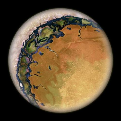 "acalc:  An artist's conception of an ""eyeball Earth"", a planet tidally locked and perpetually facing a red dwarf star in a close orbit. Some scientists theorize that this hypothetical class of planets may be good candidates for harboring life; and they would be relatively easy to detect because of the light-dimming disturbance of the star due to the planet's close and frequent revolution."