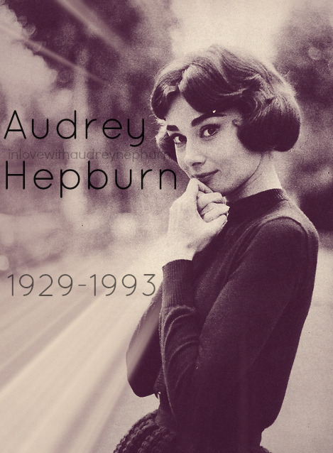 "inlovewithaudreyhepburn:  Audrey K. Hepburn -> 1929-1993  ""In a cruel and imperfect world, she was living proof that God could still create perfection."""