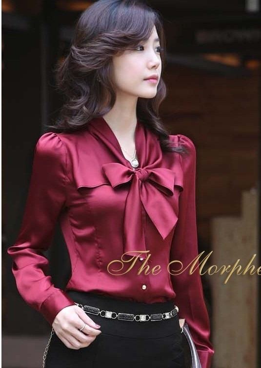 sissylikes:  (via Ruffle Shirt / Morpheus Boutique - Burgundy Satin Bow Ruffle Collar Long Sleeve Celebirty Lady Shirt)