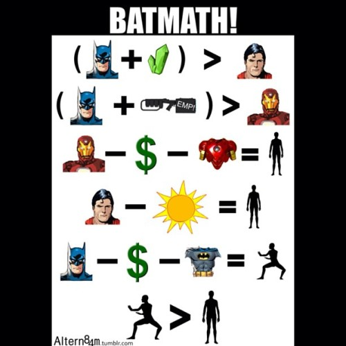 batnismo:  The Best Kind if Math #Batmath! The just shows why #Batman is the best!