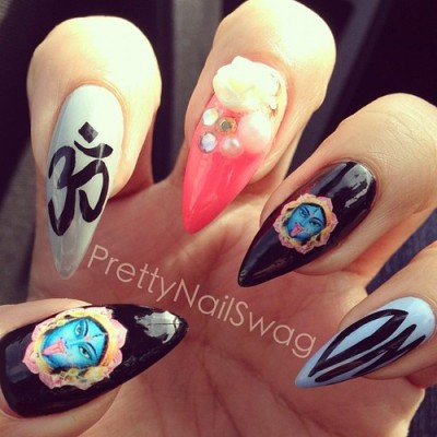 prettynailswag:  Sanskrit swaggin…shoutout to the homie @prettyproject for puttin me on the Hindu Goddess water decals from chachacovers on etsy, I've tried so many different water decals but these are #QualityShit 👍💯