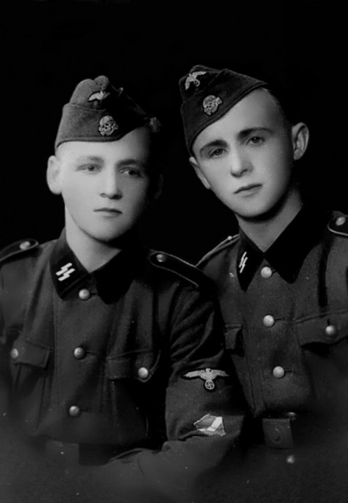 A portrait of two conscripts of the Latvian Legion (Latvian: Latviešu leģions).