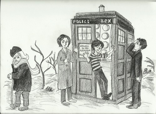 "50yearsofwhovians:  001 An Unearthly Child by Anthony Coburn   Illustrated by bananatotheparty   When teachers Barbara Wright and Ian Chesterton offer to privately tutor Susan, their strange and otherworld student she rejects their offer on the grounds of her grandfather ""not liking strangers"". The pair decide to follow her home to see if everything is alright. They are surprised to discover that her home address leads them to a junkyard on Totter's Lane and they follow her in to find nothing but a police box. However, the surprises have only just begun. Her grandfather, a mysterious wanderer in time and space and a fugitive from his home world, kidnaps Ian and Barbara for fear of them revealing their secret and whisks them away to 100,000 BC, to the dawn of man and the birthplace of fire. Will the teachers ever make it home? Can they escape the Cave of Skulls? How can a police box really be bigger on the inside? The real question is: Doctor Who?   STORY FACTS ~ Introduces The First Doctor, Barbara Wright, Ian Chesterton, Susan Foreman and the TARDIS. The TARDIS is first described as being ""alive"". The TARDIS' chameleon circuit is broken for the first time. Susan claims to have come up with the name TARDIS and its meaning (Time and Relative Dimensions in Space) herself. This is no longer considered canon. This is the only story where the Doctor is seen to be smoking. Alternate titles for this story are 100,000 BC, The Tribe of Gum, The Firemakers and The Cavemen."