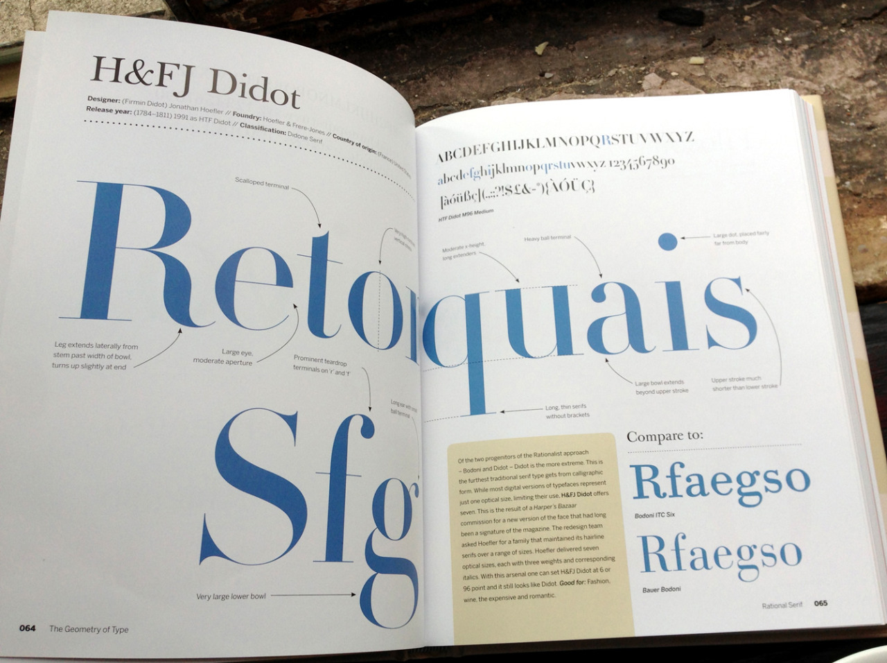betype:  Book Review by typeworship : The Geometry of Type  There are many things I like about Stephen Coles' recent book; the bright, clean design and the accessible structure allowing you to dip in and out; but most of all, it's the lack of fluff or filler. The content has been carefully honed to focus on the important details, which is in fact what the book is all about: the details of each typeface. In highlighting and comparing the features that give each typeface its character, anyone exploring this subject can begin to make informed choices between similar typeface options. The pithy descriptions describe each typeface's origin and advise what makes each appropriate for certain scenarios and where it might fail. These are occasionally laced with a subtle humour that keeps the tone of the book warm. The great balance of written and visual explanation means the book works well as a quick reference but has a seductive way of drawing you in to read more and examine further. We'll worth picking up a copy.