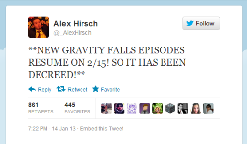 gravityfallsdecoded:  i'm eXcited that our Quests fOr new episodes of tHe show haVe been joVially completed. Because of the new episodes of gRavity falls, eXpect more… mysterIes in the future. weLl? it'd be Questionable if you weren't extremely Glad right now.