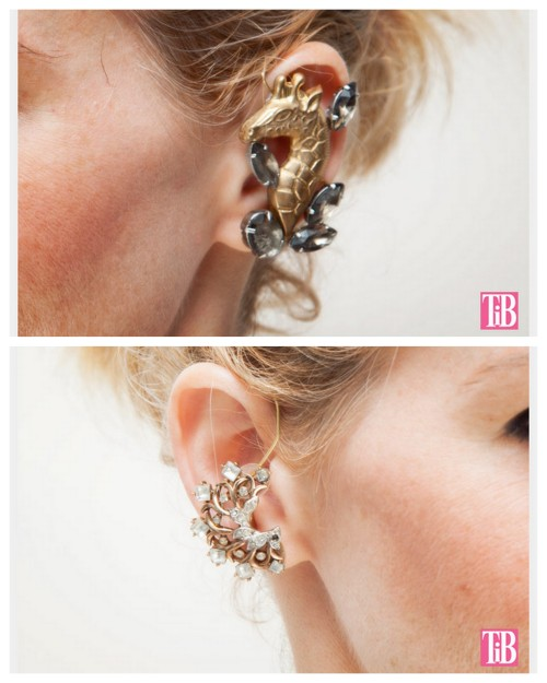 truebluemeandyou:  DIY Brooch Inspired Ear Cuff/Earrings Tutorial from Trinkets in Bloom here. These are combination earrings and ear cuffs that loop over your ear. These are good for heavier pieces of jewelry that you've salvaged or made. These remind me of Transient Expression's Rhinestone ear cuff earrings which use a clip-on earring for the upper cuff here. For lots more ear cuffs including a roundup go here: truebluemeandyou.tumblr.com/tagged/ear-cuff   clever