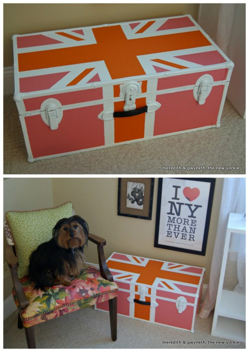 DIY Union Jack Painted Trunk Tutorial from Meredith and Gwyneth here. I have an old beat up cheap camp trunk that would be perfect for this easy makeover.