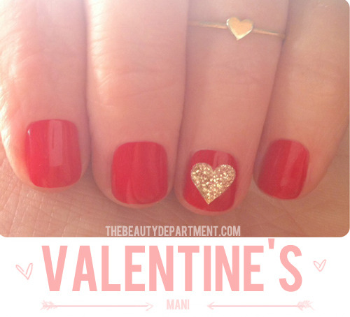 DIY Washi Tape Stencil Glitter Heart Nail Art Tutorial from The Beauty Department here. Easy way to get perfect shapes using less sticky washi tape.