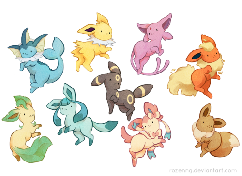 robintheshrew:  Eevee family by *Rozenng