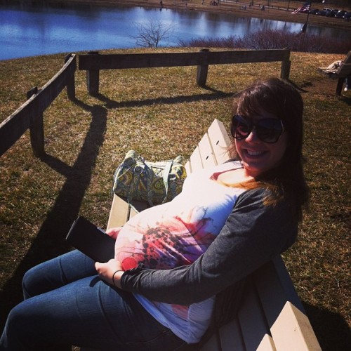 Just a beautiful day to read at the park. #pregnant #pregnancy #read #park #lovely