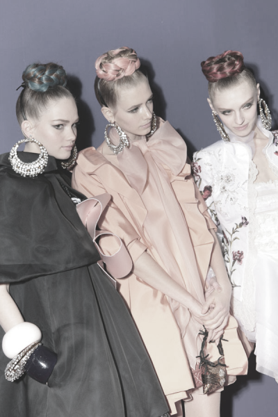 martas-wonderland:  Lena, Alyona and Olga Backstage at Christian Lacroix Couture | Spring 2009