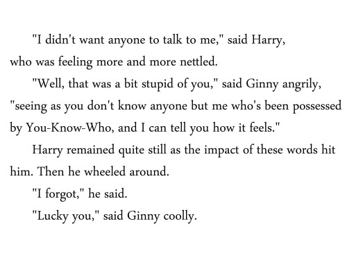 hogwartskidsproblems:  Reason #394 why Ginny Weasley is awesome