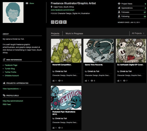 Finally got around to updating my Behance profile. Have a look, there's some process work in there that I haven't posted anywhere else. http://www.behance.net/christidutoit