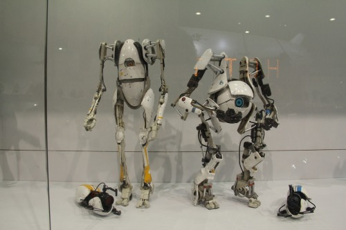 "Painted prototypes of ThreeA's P-body an Atlas figures as seen at ACG 2012 (not to be confused with NECA's action figures)  ThreeA's figures will stand about 12"" and will most likely be considerably more expensive. Pre-orders are expected to start in the middle of this year."
