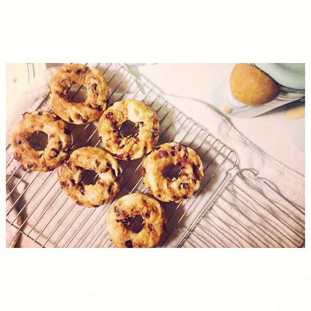 #banana and #chocolate #chip #donuts with @xtcombs :) there's also a little cinnamon sugar on top!