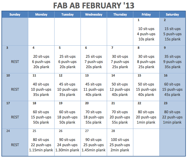 lex-is-evolving:  peace-love-and-fit:  kvknowsherfun:  I saw that Fab Ab February thing floating around but the dates were all off and that would confuse the crap out of me so I nerded up and made it for '13. I'm going to give this a whirl and see just how far I get. that 2min plank at the end seems mildly impossible. but crazier things have happened right?!   SHWING. So doing.