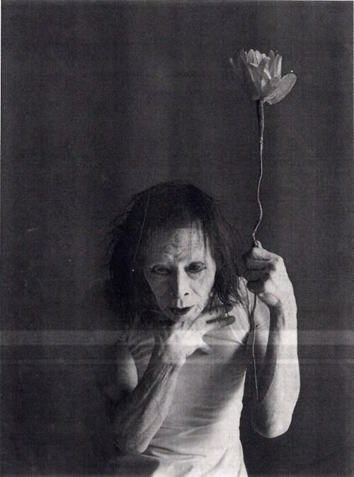 "roccocantodea:  Kazuo Ohno is a pioneer of Butoh. The strange, beautiful art of Butoh is the collective name for a diverse range of activities, techniques and motivations for dance, performance, or movement inspired by the Ankoku-Butoh movement. It typically involves playful and grotesque imagery, taboo topics, extreme or absurd environments, and is traditionally performed in white body makeup with slow hyper-controlled motion, with or without an audience. There is no set style, and it may be purely conceptual with no movement at all. Ohno once said of his work: ""The best thing someone can say to me is that while watching my performance they began to cry. It is not important to understand what I am doing; perhaps it is better if they don't understand, but just respond to the dance."""