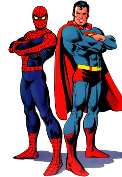 jthenr-comics-vault:  Spider-Man & Superman PortraitFrom Superman vs The Amazing Spider-Man (1976)By Ross Andru & Dick Giordano