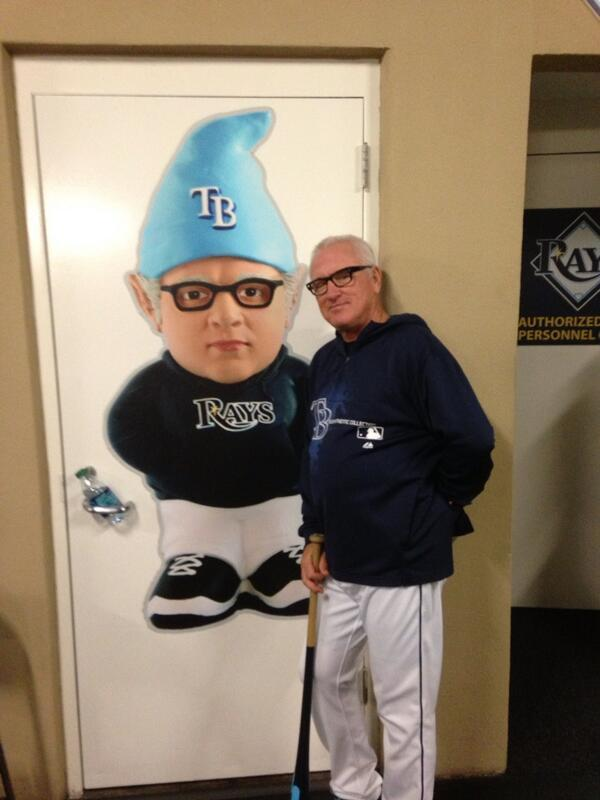 "musiquedevie:  ""@RaysJoeMaddon posing with a wall-sized version of his gnome"""