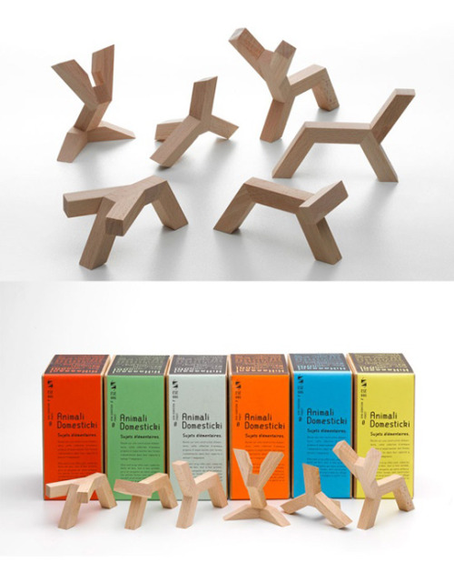 """Animali domesticki"" wooden figures. We want to show you this great collection of plain wooden sculptures which synthesises the animal shapes. It designed by Jean-Sébastien Poncet."
