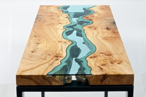 laughingsquid:  Beautiful Wooden Tables With Glass Inlays Inspired by the Rivers and Ponds of the Pacific Northwest