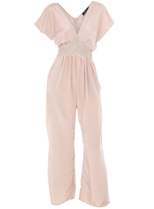 Beige Flared Leg Bead Jumpsuit by Dorothy Perkins