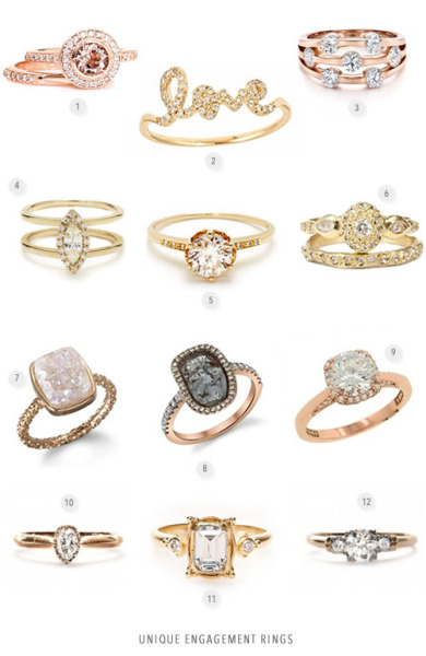 "fuckyeahweddingideas:  1. 14K White Yellow or Rose Gold Vintage Bridal Jewelry 2. gold and diamond script ""Love"" 3. Custom Rose Gold and Diamond Engagement Ring4. Attelage Marquis Diamond Ring 5. The Hazeline is a corner stone of the solitaire 6. Ancienne Diamond Ring   7. Halo Nadia Stackable Druzy Ring 8.Borgionis Natural Cut Diamond  9. Tacori engagement ring 10. Trumpet and Horn Solitaire Diamond 11. 18k yellow gold engagement ring 12. Trumpet and Horn vintage engagement ring"
