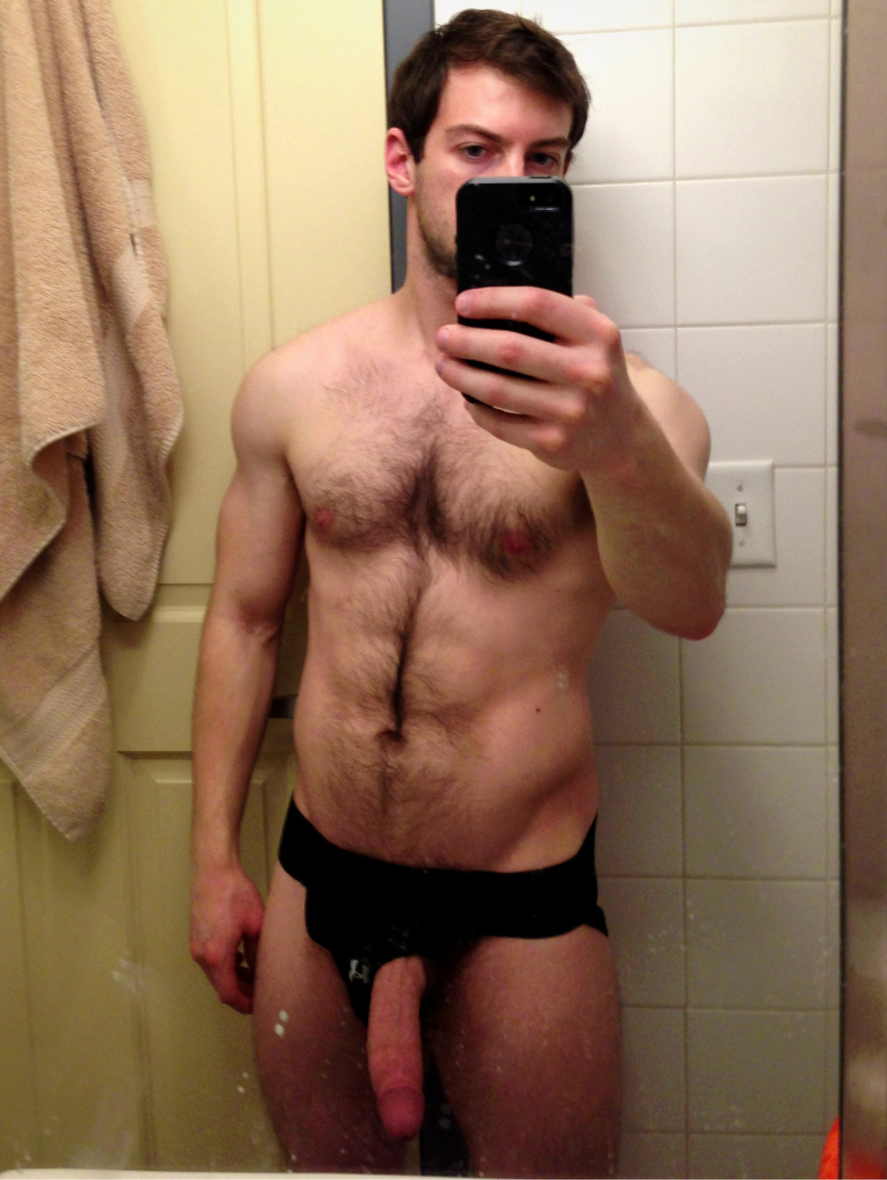 bravodelta9:  My cock hanging out of my jock.
