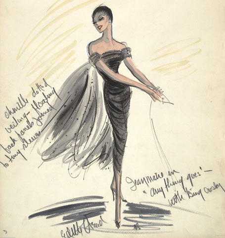 Vintage Tuesday: Great films, Great Costumes.  Sketches by Edith Head, the Golden Age costume designer.