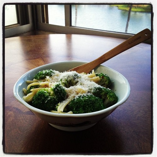 Maccheroni with broccoli in a garlic butter cream sauce- it's what's for lunch today at Hale Ala Wai (at Hale Ala Wai)