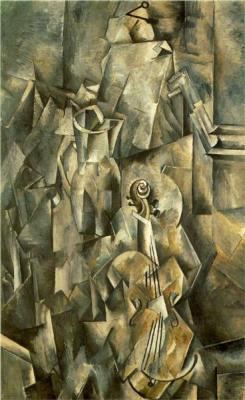 thesavagesgallery:  Georges Braque (1882 - 1963) Violin and Pitcher, 1910. Oil on canvas. Kunstmuseum Basel, Basel, Switzerland.