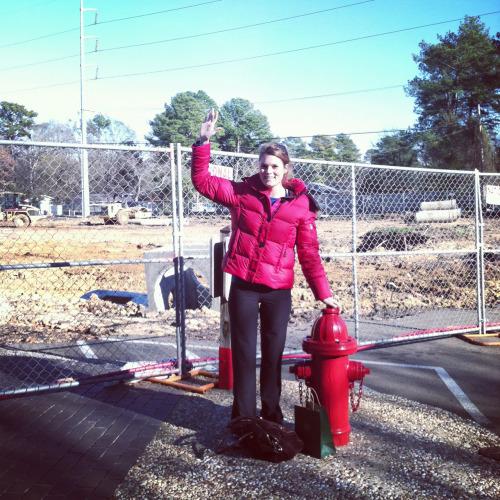 Nell waving at the future location of Whole Foods, Jackson MS.