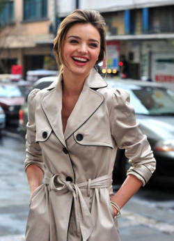 Miranda Kerr in fashion trench coat