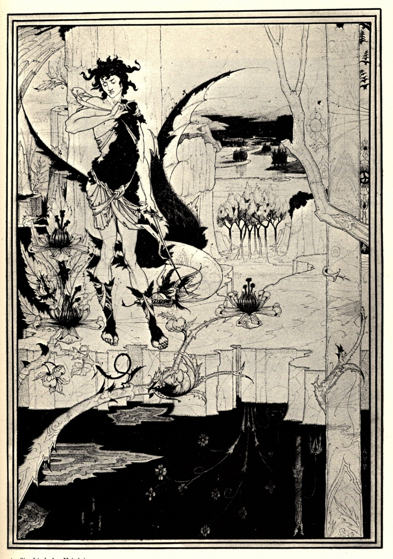 denisforkas:  Aubrey Beardsley - Illustration for Act II of Richard Wagner's opera Siegfried. 1892-93