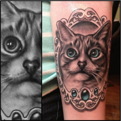 My new memorial tattoo of my sister's cat Snowy. Inked by Josh Grable at SpeakEasy Tattoo (Chicago). He's the best portrait artist in the city, in my opinion. I consider this my 6th tattoo.
