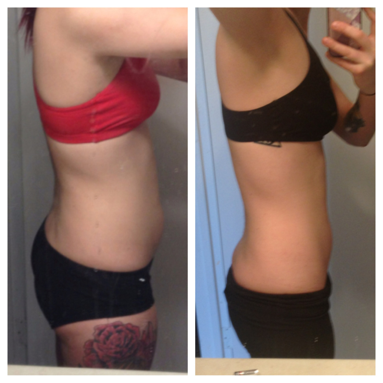 jillsansjack:  August 2012 - March 2013. About a 20 pound difference. I am insanely proud of myself.