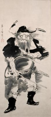 japaneseaesthetics:Shoki the Demon Queller. Ink on paper scroll. 1760's, Japan, by artist Soga Shohaku