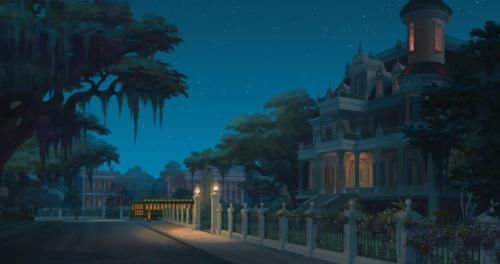 A gorgeous background painting from Disney's The Princess and the Frog.