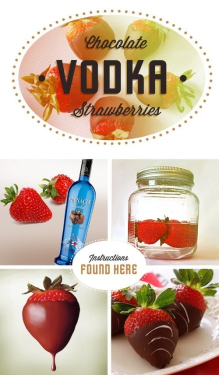 DIY: Vodka Chocolate Strawberries  These look so good I want them NOW.