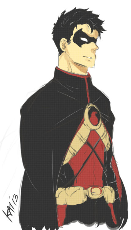 kai-chu:  Tim in his new 52 red robin suit — only that i added the cape. coz we all know those wings are a fawking abomination.