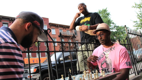 A chess match at Cornerstone restaurant in Fort Greene, BK.