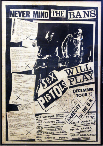 "Sex Pistols Poster For Their Final Tour in The UK - Poster promoting the Sex Pistols' last shows in the UK: their ""Never Mind The Bans"" tour. The poster's designer Jamie Reid puts the punk band's image to work, proudly displaying a collage of rejection letter clippings from venues that refused to host them. One reads: ""…The unfortunate reputation they have gained seems to bring in its wake inevitable scenes of violence and resulting damage…"" Slated to play eight shows in the UK from 16-25 December 1977, the turmoil-laden band had to cancel half of them and would never play the UK again. Sid Vicious would die of a heroin overdose on 1 February 1979 at age 21."