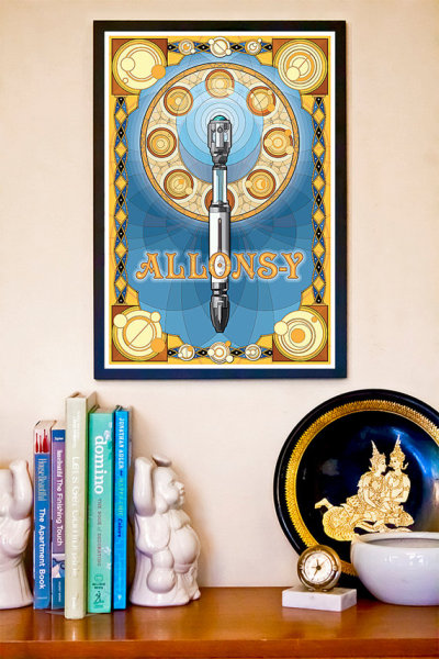 Gift Ideas For Geeky Ladies//Home Decor Love this Art Nouveau print of a Sonic Screwdriver!