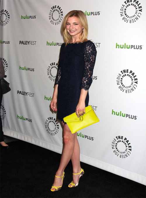 Emily Vancamp seen with our bright yellow MILCK clutch!