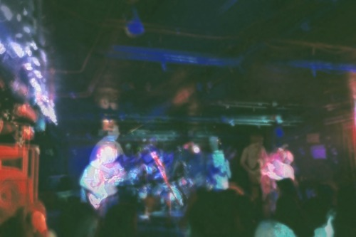 Trippy picture of us playing The Middle East Downstairs last night with Mac Demarco! Such a fun show <3