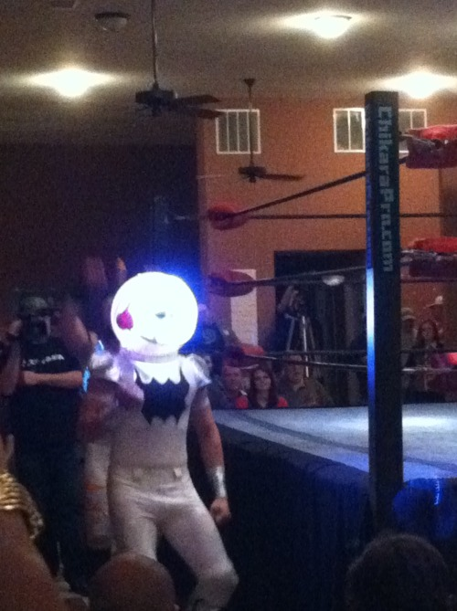 heinekenrana:   Blurry photo of Phantom Spaceman Ant from the CHIKARA show Saturday night.   This is a terrible picture, and I do apologize, but this new group of ants CHIKARA has added to the roster - the Colony XTREME Force, which is made up of Arctic Rescue Ant, Missile Assault Ant, and this creepster, Orbit Adventure Ant - is either the best thing happening right now, or the absolute most bizarre. Seeing them in action last Saturday, there's only two things I can confirm right now: All they do is say their own names over and over (which amused me, especially when they get frustrated and are stuck saying their own names through gritted teeth), and this one looks like Phantom Spaceman. At least, that's my story and I'm sticking to it.