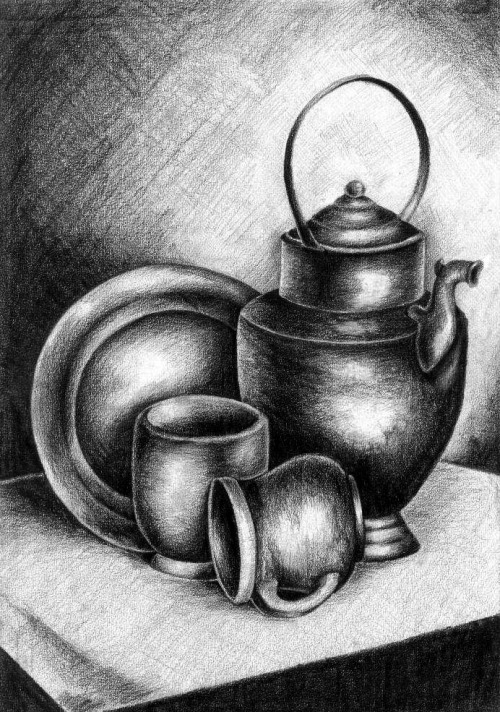 Pewter teapot, mugs and plate Static nature study drawn from life. One of my favourite pieces :) Graphite pencils on 180gsm paper