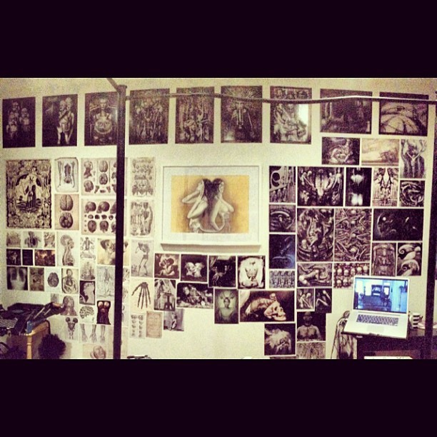 "❤ My ""mural"" of pictures. Need a few more to eventually fill up that space in the bottom centre but sitting on my bed staring at this makes me feel good. #art #creative #medical #illustrations #vintage #giger #wall #hrgiger #alien #xenomorph #joelpeterwitkin #photography #bones #anatomy #room #love #decor"
